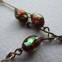Art Deco Pink & Green Foil Glass Bead Necklace (2 of 7)