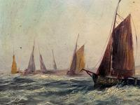 19thc (British School) Fishing Boats In Rough Seas Oil On Board Painting (3 of 13)