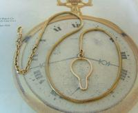 Vintage Pocket Watch 1940s Long 12ct Rolled Gold Snake Link Albert With Button Clip (4 of 12)