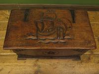 Antique Oak Chest with Carved Ship Detail to Lid Maritime Nautical Storage Chest (7 of 14)