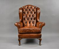 Edwardian Mahogany Hand Dyed Leather Wing Back Armchair (2 of 14)
