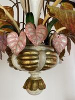 Large Florentine Ceiling Light Chandelier Toleware with Polychrome Painting (8 of 11)