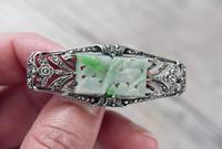 Art Deco Silver and Jadeite Brooch with Marcasites,  1930s (7 of 7)