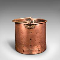 Pair of Antique Fireside Bins, English, Copper, Coal, Fire Bucket, Victorian (5 of 12)