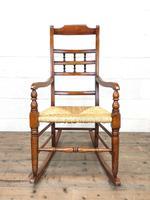 19th Century Rush Seat Rocking Armchair (5 of 9)