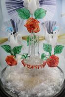 A Rare & Fine Stourbridge Type Glass Bird Fountain Frigger Under Dome C.19thc (4 of 9)