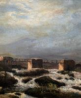 Original 19th Century Period Antique Scottish Highland Bridge Landscape Oil Painting (7 of 11)