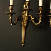 French Pair Of Gilded Triple Arm Antique Wall Lights (4 of 9)