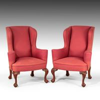 Very Good Pair of Early 20th Century Mahogany Framed Wing Chairs (4 of 6)
