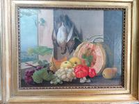 19th Century Still Life with Grapes, Pumpkin, Tomatoes Oil on Canvas (10 of 12)
