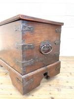 Antique Mahogany Metal Bound Trunk with Wheels (7 of 10)
