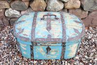 Scandinavian / Swedish 'Folk Art' Travel chest in blue paint and ironwork, 18th Century (24 of 37)