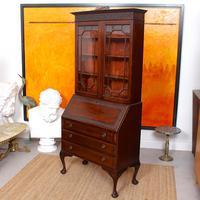 Secretaire Bureau Bookcase Astragal Glazed Mahogany Library Cabinet Edwardian (10 of 14)