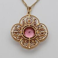 Edwardian 18ct Gold & Tourmaline Pendant with Chain (3 of 4)