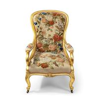 Pair of High Victorian Giltwood & Needlework Armchairs by Gillows (8 of 15)