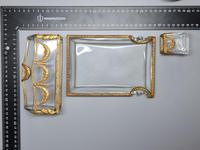 19thc Antique French Gilt Bronze Ormolu & Cut Crystal Desk Set - Letter Rack Holder, Pen / Note Tray & Pot (12 of 17)