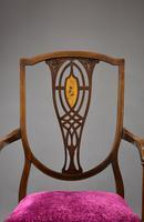 Edwardian Mahogany Inlaid Open Armchair (3 of 11)