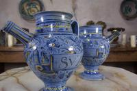 Pair of Mid 17th Century Italian Majolica Berettino Wet Drug Jars (3 of 11)