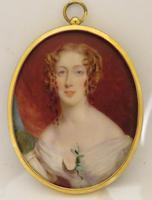 Miniature Portrait Late Georgian lady Oval Easel Back Frame (4 of 4)