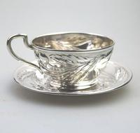 Eduard Friedman - Extremely Rare 800 Solid Silver Vienna Cup & Saucer 1900