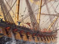 "Seascape Oil Painting Naval Frigate Ships Napoleonic War Sea ""Battle Trafalgar"" (12 of 25)"