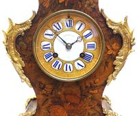 Wow! Phenomenal French Boulle Mantel Clock Multi Wood floral inlay 8 Day Mantle Clock (2 of 6)