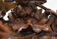 Black Forest Inkwell Hand Carved German Cuckoo Bird Sculpture 1860 (9 of 9)