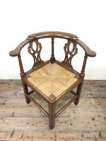 Antique 19th Century Oak Corner Chair with Rush Seat (6 of 10)