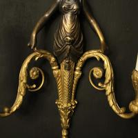 French Pair of Gilded Bronze Twin Arm Antique Wall Sconces (9 of 10)