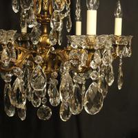 Italian Gilt Bronze & Crystal 6 Light Antique Chandelier (3 of 10)