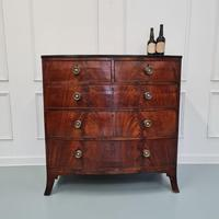 Flame Mahogany Antique Bowfront Chest c.1830 (4 of 8)