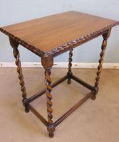 Antique Oak Barley Twist Occasional Table (4 of 5)