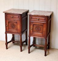 Pair of French Oak Marble Top Bedside Cabinets (2 of 9)