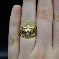 Antique Diamond Lions Head and Laurel Leaf 18ct 18K Yellow Gold Ring (6 of 9)