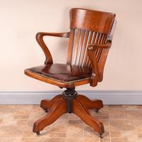 Good Quality Oak Revolving Office Desk Chair (13 of 14)