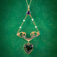 Antique Suffragette Heart Pendant Necklace 9ct Gold Rolason Brothers Dated 1912