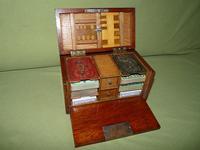 Unusual Oak Games Box - Bezique + Antique Cards + More (3 of 16)