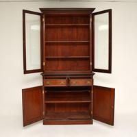 Antique Victorian Inlaid Mahogany 2 Section Bookcase (3 of 11)