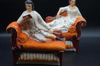 Unusual Pair of Mid 19th Century Staffordshire Reclining Figures (2 of 5)