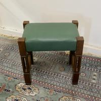 Stylish Arts and Crafts Oak and Leather Stool (3 of 6)