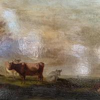 Antique large Georgian landscape oil painting study of cows (8 of 9)