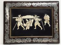 Lacquer Panel of a Japanese Lady Being Carried in a Litter