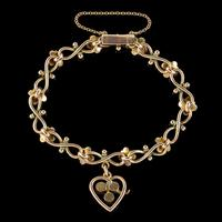 Antique Victorian Turquoise Heart Forget Me Not Bracelet 9ct Gold With Box c 1880 (8 of 9)