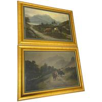 Pair of Pastoral Oil Paintings 19th Century Scottish Highlands Cattle