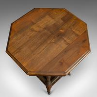 Antique Lamp Table, English, Walnut, Octagonal, Side, Games, Edwardian c.1910 (3 of 10)