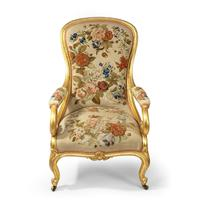 Pair of High Victorian Giltwood & Needlework Armchairs by Gillows (6 of 15)