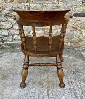 Antique Elm Captains Chair or Smokers Bow (6 of 14)