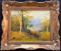 A Wonderful Original 20thc Autumn Woodland Landscape Oil on Canvas Painting