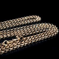 Antique Long Faceted Belcher Rolled Gold Guard Muff Chain Necklace (3 of 8)