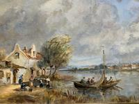 A Beautiful Original Signed Continental Impressionist Riverscape Oil Painting (4 of 12)